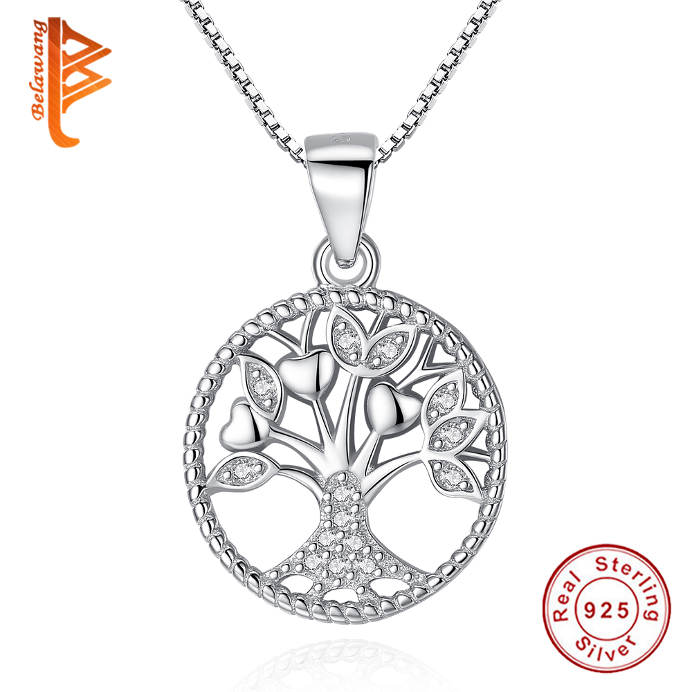 BELAWANG 925 Sterling Silver Link Chain Necklaces Crystal CZ Tree Of Life Pendant Necklace For Women Luxury S925 Silver Jewelry