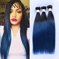 Raíces oscuras azul cabello humano 4 bundles Peruana recta remy del pelo azul ombre weave 2 tonos ombre paquetes azules HANNE Pelo de Colores