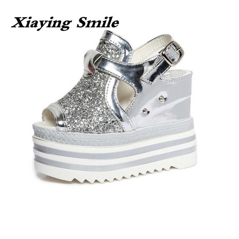 Xiaying Smile Summer Woman Sandals Casual Platform Women Pumps High Heel Wedge Fashion Thick Sole Buckle Strap Bling Women Shoes xiaying smile summer woman sandals fashion women pumps square cover heel buckle strap fashion casual concise student women shoes