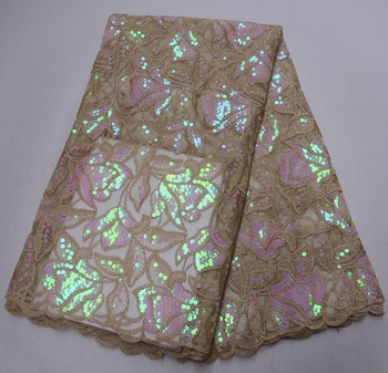 Newest African Sequins Lace Fabric 2019 High Quality Lace Material Nigerian sequins Organza Lace Fabric