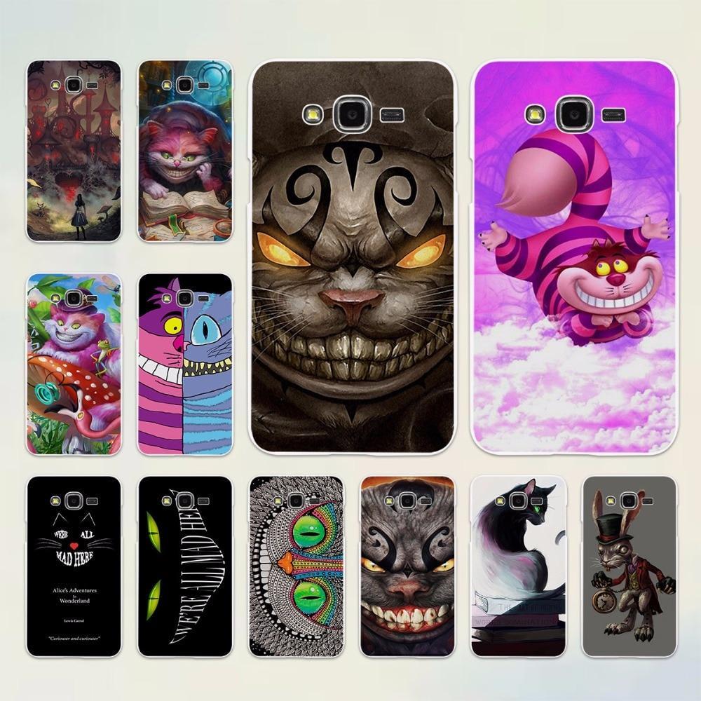 anime Cheshire Cat alice in wonderland design hard White Case cover for Samsung Galaxy J5 2017 J7 2016 J3 J2 J1 C7 C9Pro E5 E7