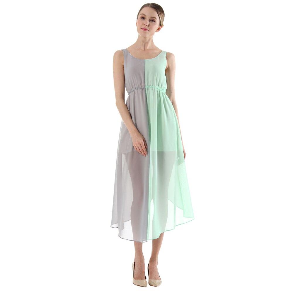 Pro Lady Dress Ankle-Length Chiffon Cloths Sleeveless Patchwork Tank Empire Summer Female Beach Dress Pink Slim Beautiful Gowns