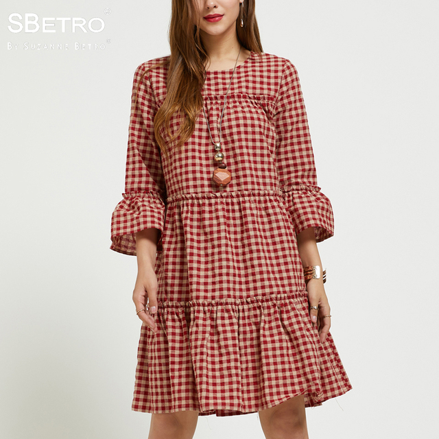 e395c9a0bfc SBetro By Suzanne Betro Plaid Dress Female Checks Crew neck 3/4 Ruffle Bell  Sleeve Tier Fashion Casual Women Dresses Plus Size