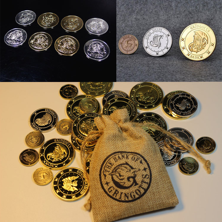HP HOGWART Commemorative Coins HP Harri Gringots' Bank Coins Golden Galleon Silver Sickle Copper Knut 1:1 Metal Model Harri Toys