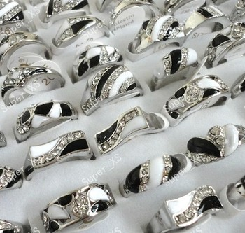 150pcs wholesale lots jewelry ring new  nice enamel & rhinestone alloy silver plated Rings free shipping BL095