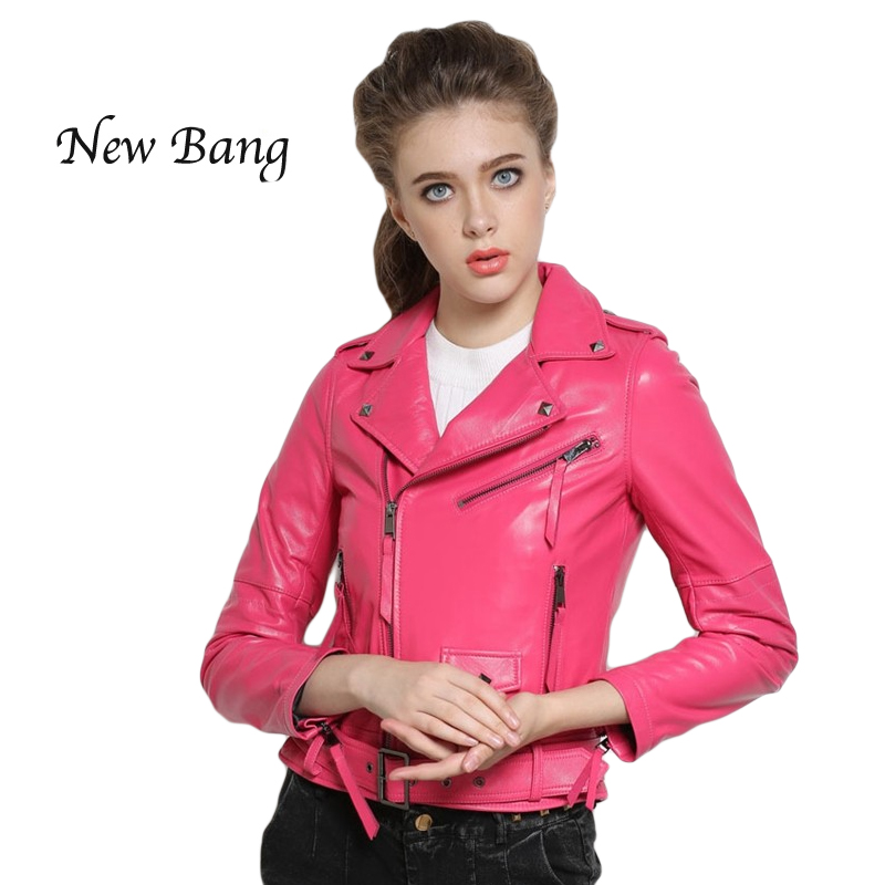 2017 Fashion Women Genuine Leather Jacket Motorcycle Short Zipper Women's Sheepskin Coat Pink Leather Jacket  With Belt