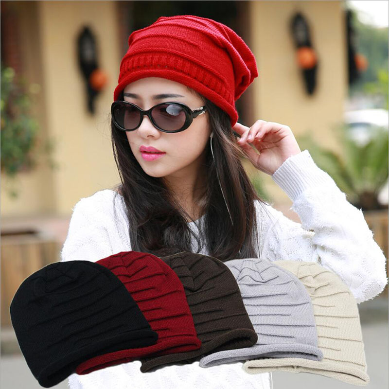 New Fashion Autumn Winter Unisex Knitted Hats Caps Warm Skullies Beanies Solid Hip-hop Snap Slouch  Baggy Hat Gorro Men Women new winter beanies solid color hat unisex warm grid outdoor beanie knitted cap hats knitted gorro caps for men women