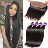 7A Lace Frontal Closure With Bundles Brazilian Virgin Hair Straight With Closure Human Hair Lace Frontal Bundles Weave Free Part