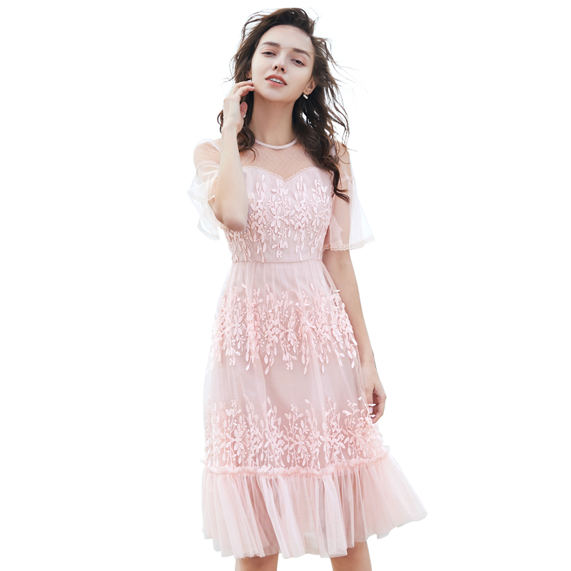 Women Two layers chiffon pleated dress 2019 Round neck flare sleeve spring autumn female vintage Short sleeve