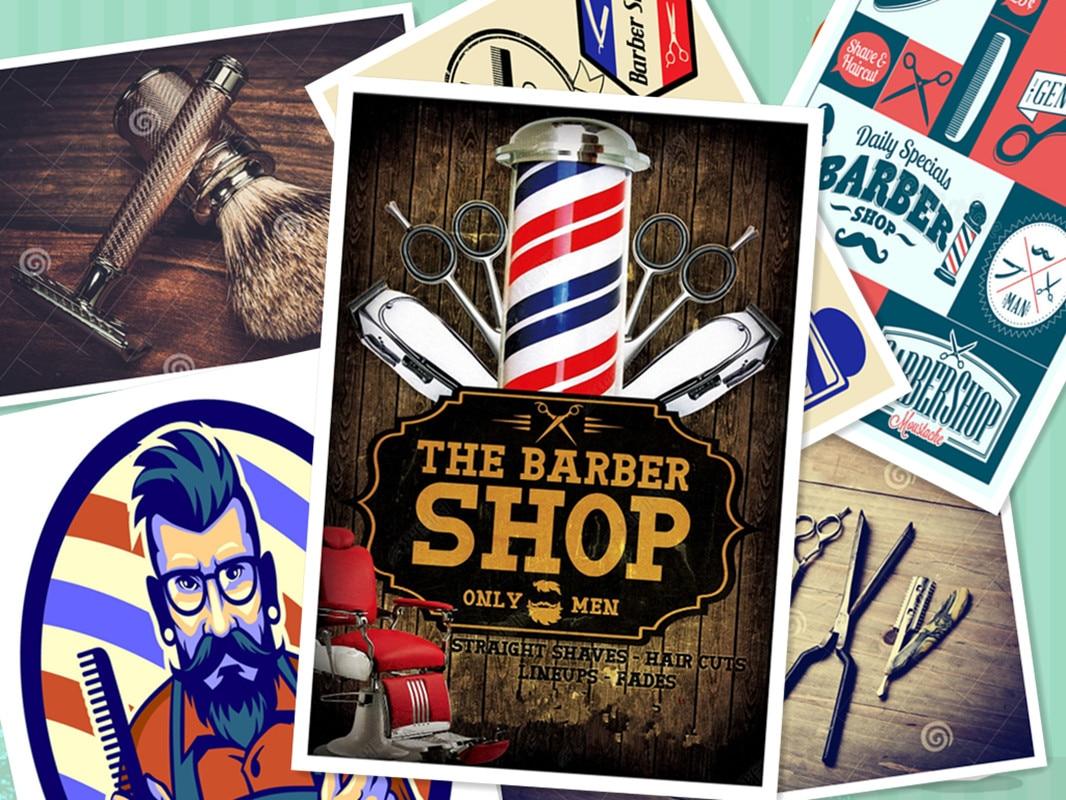 Retro Hairdresser Tattoos Patterned kraft Paper Poster Barber Shop Decor Barber Tools Shave Hair Salon Wall Stickers 30X42 CM F metalowe skrzydła dekoracyjne na ścianę