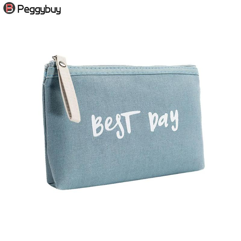 Fashion Women Portable Letter Print Clutch Cosmetics Storage Pouch Makeup Bags Girls Canvas Portable Cosmetics Casual Bag