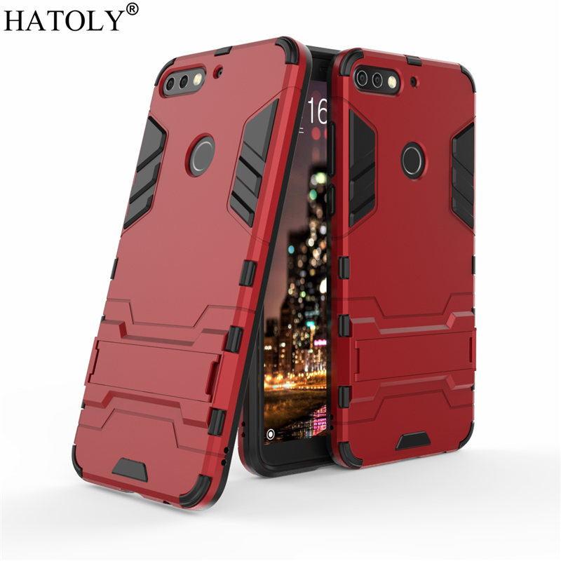 HATOLY sFor Armor Case Huawei Y7 Prime 2018 Case Honor 7C Robot Silicone Rubber Hard Back Phone Cover For Huawei Y7 Prime 2018