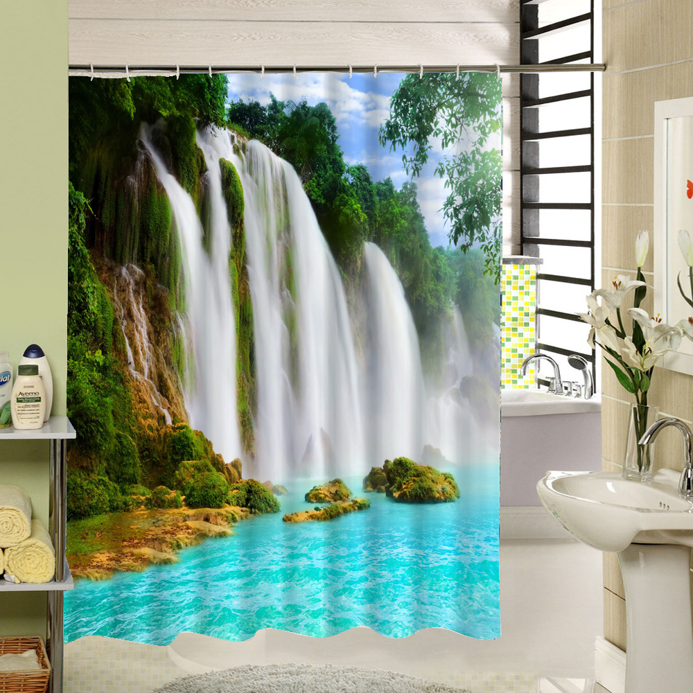 2017 3d Waterfall Scenic Waterproof Home Decoration Shower Curtain Beach Bathroom Products Polyester Bath Cortina De Bano