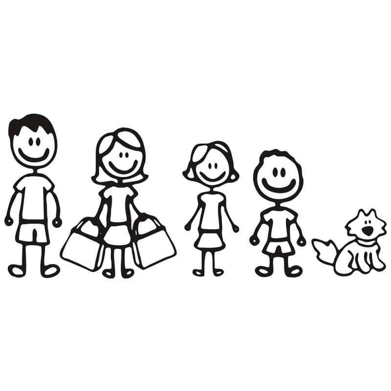 Baru Lucu Keluarga Gambar Ayah Ibu Anak Dan Hewan Peliharaan Anjing Auto Mobil Stiker Aliexpress