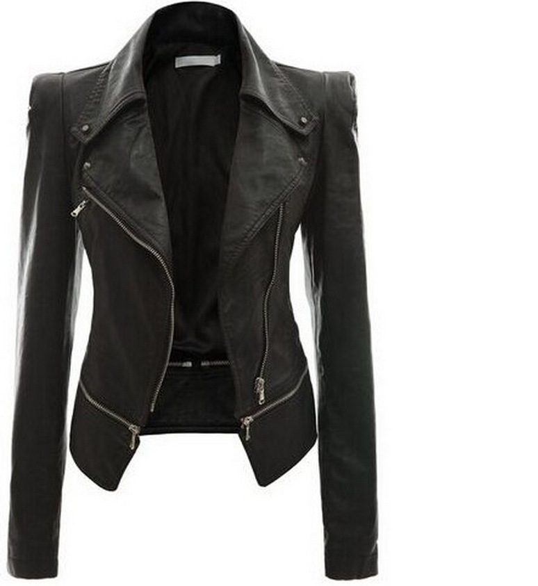 2018 autumn and winter women's motorcycle   leather   jacket jacket zipper two wear   leather
