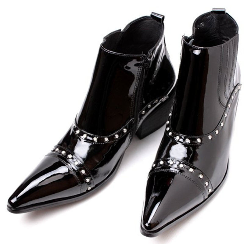 New Arrival Western High Heels Pointed Toe Studded Cowboy Boots Patent Leather Motorcycle Punk Shoes Man цена