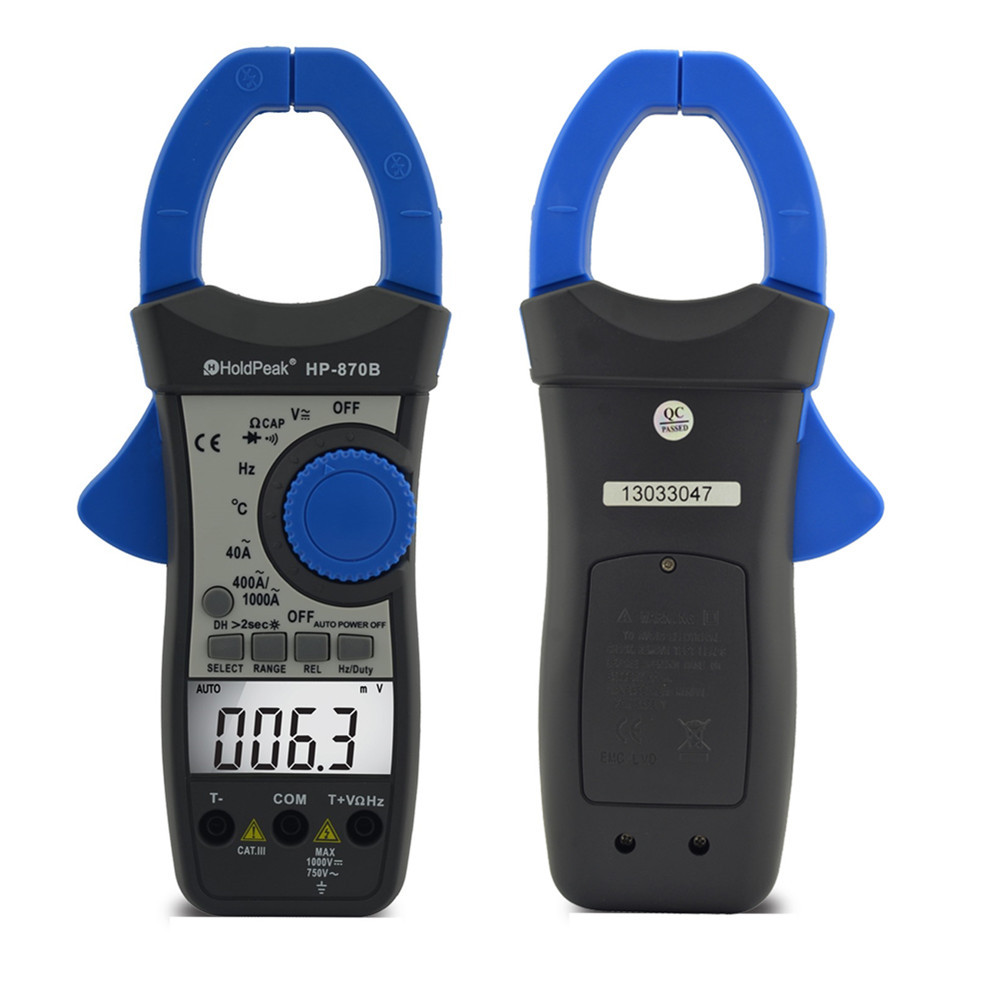 HoldPeak HP-870B Auto Range DC AC Digital Clamp Meter Multimeter Pinza Amperimetrica Amperimetro Backlight Auto Power Off цена