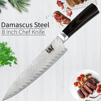 XYj 8 inch Damascus Steel Kitchen Knife Color Wood Handle Sharp Blade Chef Knife Fish Meat Cooking Tool Kitchen Accessories