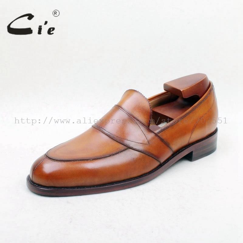 Cie Gratis Verzending Ronde Toe100 % Lederen Zool Bespoke Cement Craft Handgemaakte Bruin Slip op mannen platte schoen loafer 162-in Formele Schoenen van Schoenen op  Groep 2