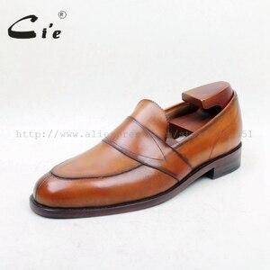 Image 2 - Cie Gratis Verzending Ronde Toe100 % Lederen Zool Bespoke Cement Craft Handgemaakte Bruin Slip op mannen platte schoen loafer 162