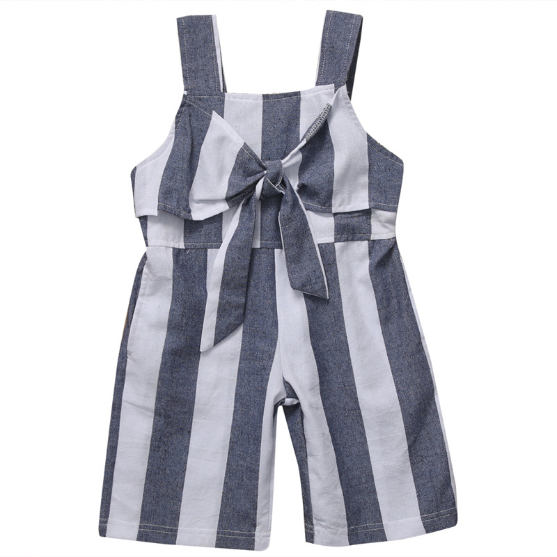 Hot Sale Baby Girl Sleeveless Bodysuit 2018 Bebes Newborn Baby Girl Striped Bodysuit Bowknot Fashion Jumpsuit Baby Girls Clothes