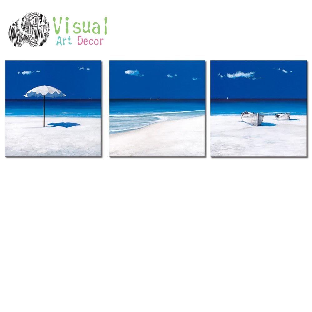 ③No enmarcado mar azul de la lona arte de la pared playa de arena ...