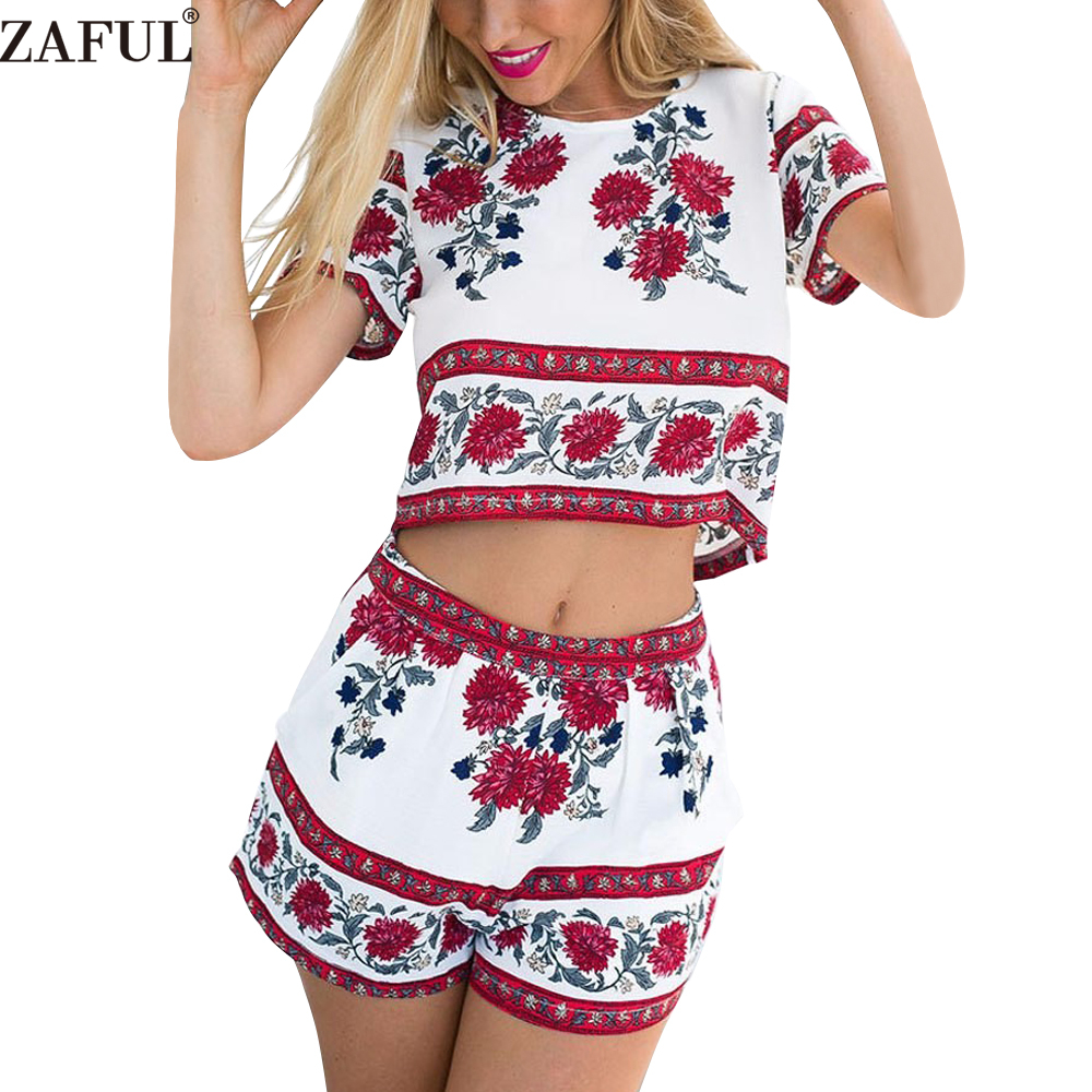 ZAFUL Summer Women Suits Retro Rosemary Floral Crop Top Shorts Set Elegant Mini Boho Beach ...