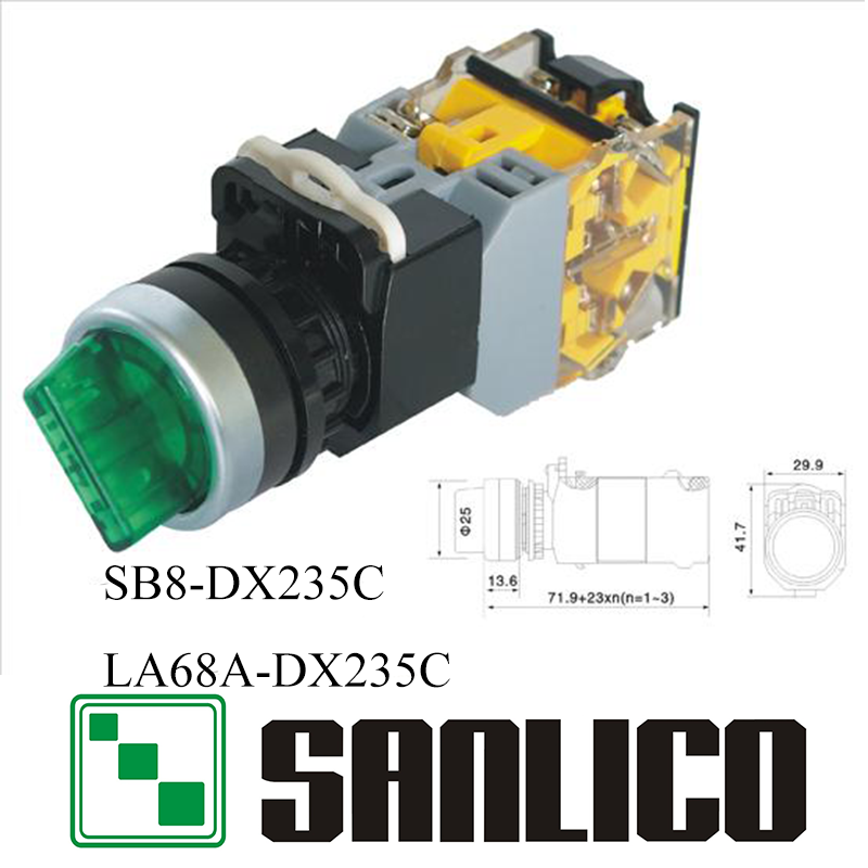 illuminated rotary push switch selector switch two or three-position SB8(LA68A LA38)-DX235C with integral LED 660v ui 10a ith 8 terminals rotary cam universal changeover combination switch