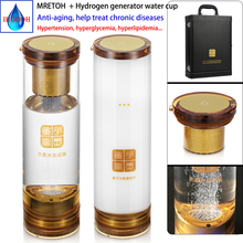 Taşınabilir hidrojen su jeneratörü cam şişe MRETOH iki bir H2 DuPont N117 İyonik membran uyku geliştirmek bağışıklık geliştirmek