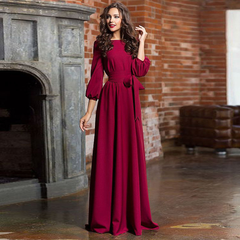 Women Dresses Fashion O Neck Pockets Maxi Dress Ladies Elegant Solid Lantern Sleeve Party Dress With Belt Vestidos