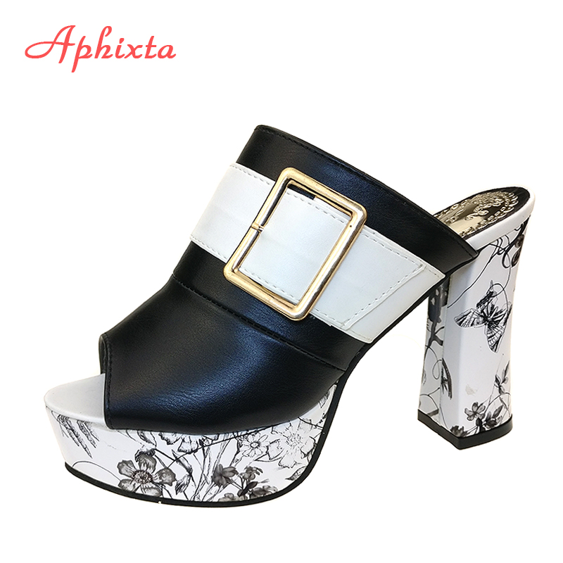 Aphixta 2017 New Sandal Women Leather Sandals Square Heel Slippers Woman Platform Wedges Summer Shoes Pumps Flip Flops High Heel choudory bohemia women genuine leather summer sandals casual platform wedge shoes woman fringed gladiator sandal creepers wedges