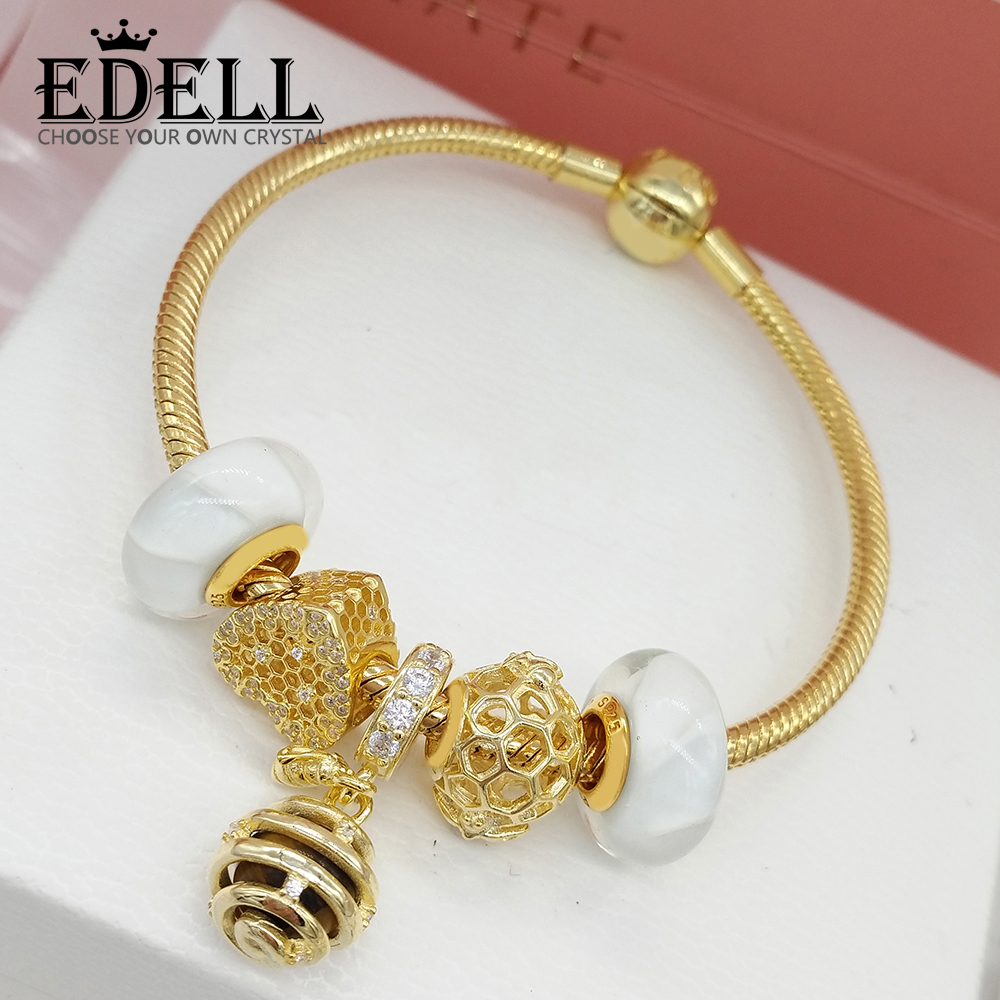 EDELL 100% 925 Sterling Silver SHINE HONEYBEE CHAR HONEYCOMB LACE CHARM SHINE QUEEN BEE PENDANT 18K Gold Sweet Bracelet Set hot sale new collection good quality luxuxious shine 925 real silver honeycomb lace ring