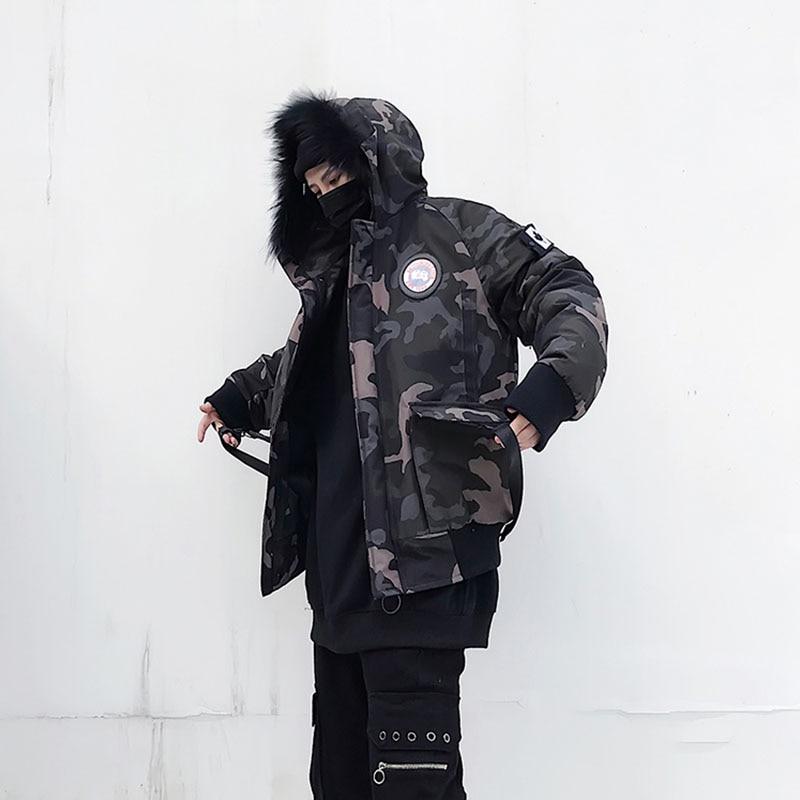 Fausse Fourrure Rembourré Parka Veste Hommes de Hip Hop À Capuche Mode Camouflage Parkas-Camouflage US Taille