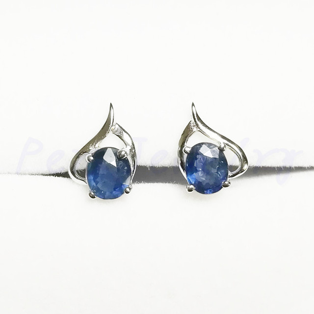 8e3274938 Sapphire stud earring 0.6ct*2pcs gems Free shipping Natural real sapphire  925 sterling silver