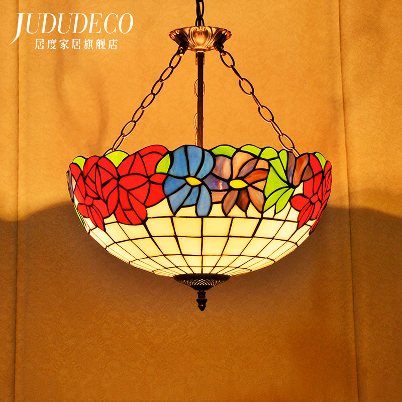 European Mediterranean Style Tiffany Ceiling E27 Crystal Pendant Lamp Glass Lights LED Bulbs Suspension Lamp Bedroom Lighting