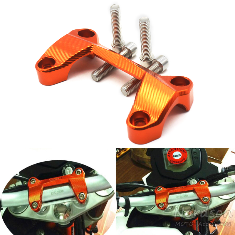 CNC Aluminum Dirt Bike Motorcycle Handlebar Risers Top Cover Clamp Fit For KTM DUKE 390 200 125 Orange motorcycle cnc balance bar for ktm 125 duke 200 duke 390 handle rebar handlebar modification parts accessories balance bar