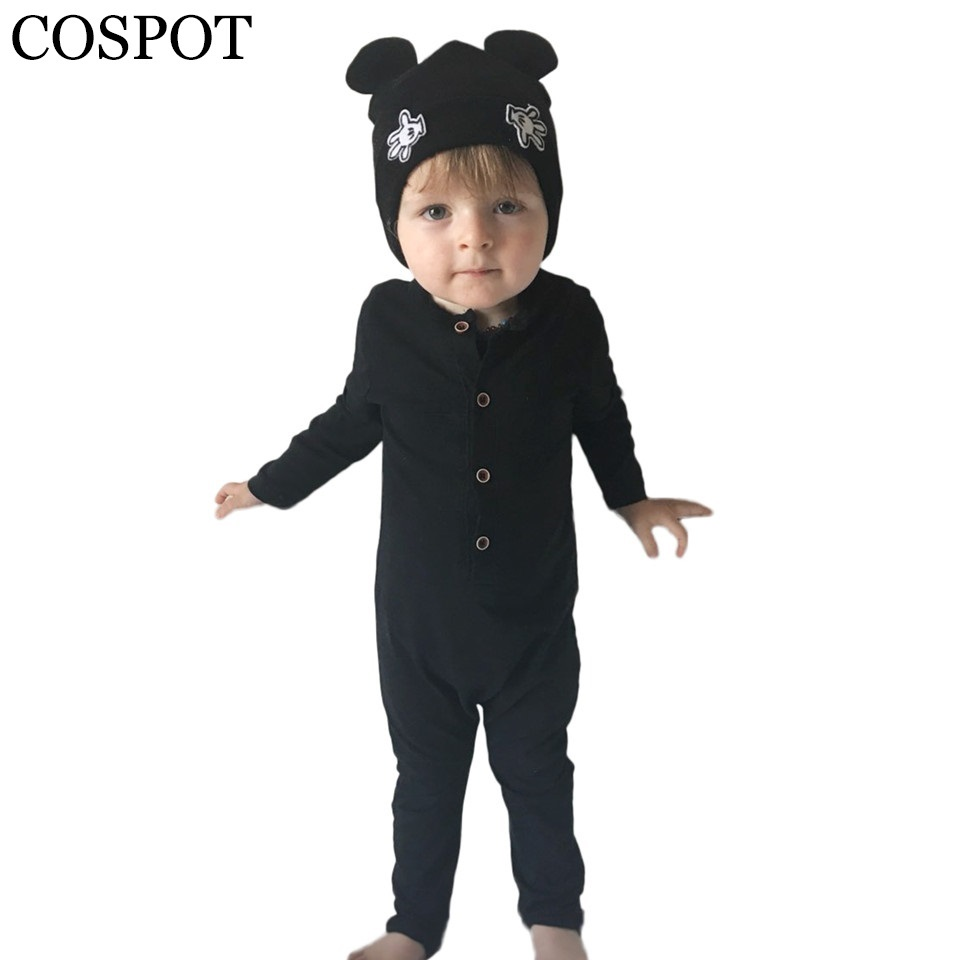 Baby Herbst Strampler Junge Baumwolle Harem Overall Jungen Plain Schwarz Grau Tank Strampler Neugeborenen Mode Kleidung 2019 Neue 30F