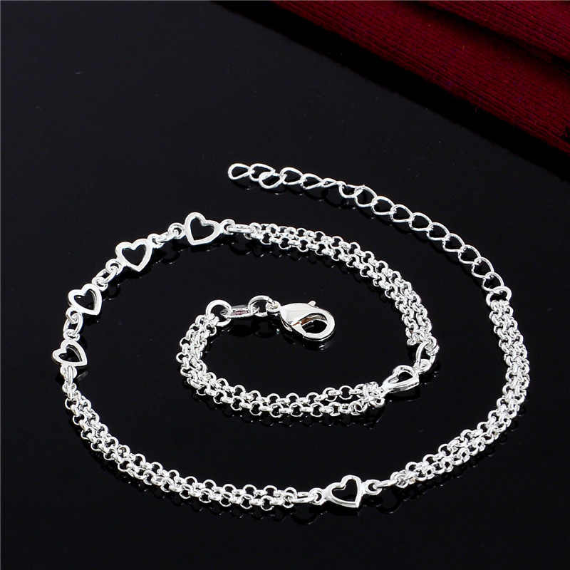 SHUANGR One Single Piece Romantic Style Beach Barefoot Sandals Love Heart Anklet Silver Chain Foot Jewelry High Quality