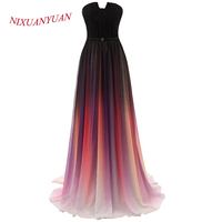 Long Elegant Prom Dress Chiffon Dress Celebrity A Line Multi Colors Gowns Evening Vestidos De Fiesta