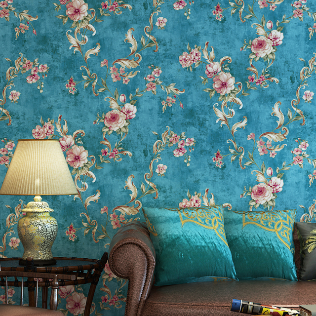 Wallpaper For Bedroom Walls Designs: Vintage American 3D Floral Wallpaper Rustic Wall Paper For