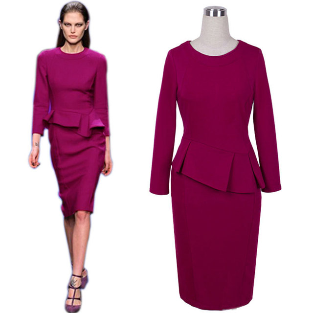 New Autumn Winter Slimming Pencil Dress Ruffles Semi Formal Lady