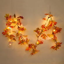 1.5M Maple Leaves Rattan Cane Artificial Silk Hanging Garland Plant Wedding Home Party Leaf Decoration