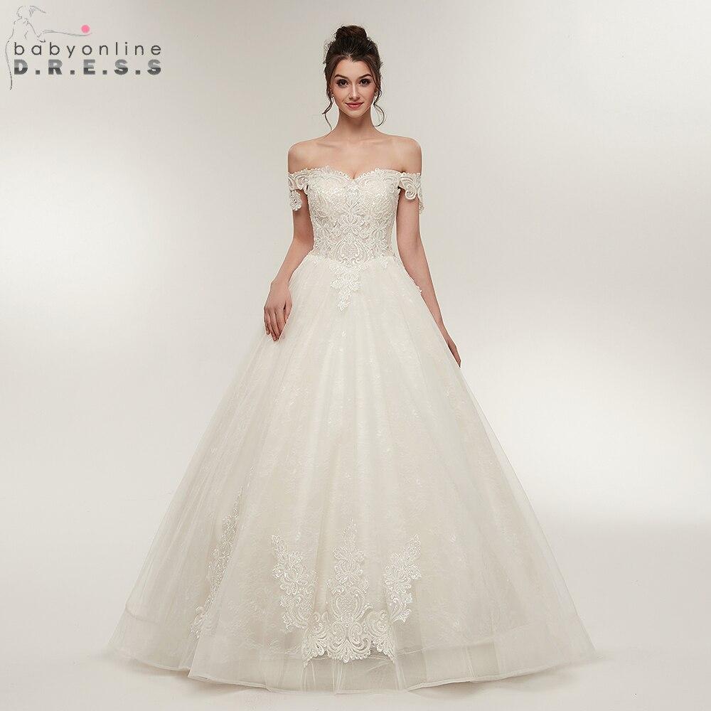 Romantic Off Shoulder Ball Gown Wedding Dresses 2018 Lace Applique ...