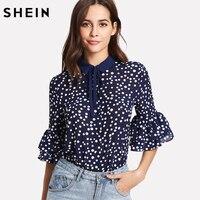 SHEIN Ruffle Sleeve Button Blouse Spring 2018 Elegant Womens Tops Navy Half Sleeve Tie Neck Ruffle