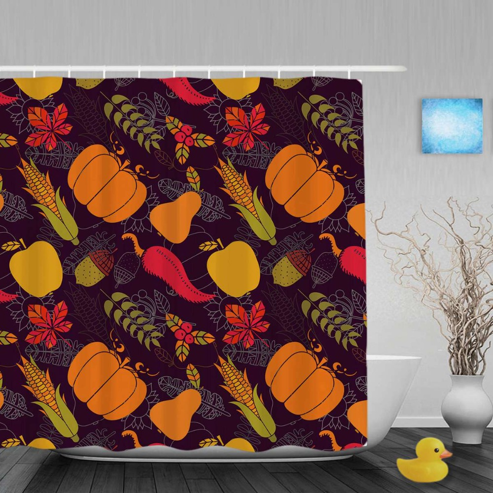Happy Winter Pumpkin Mulberry Bathroom Shower Curtain Halloween Decor Shower Curtains Waterproof Polyester Fabric With Hooks
