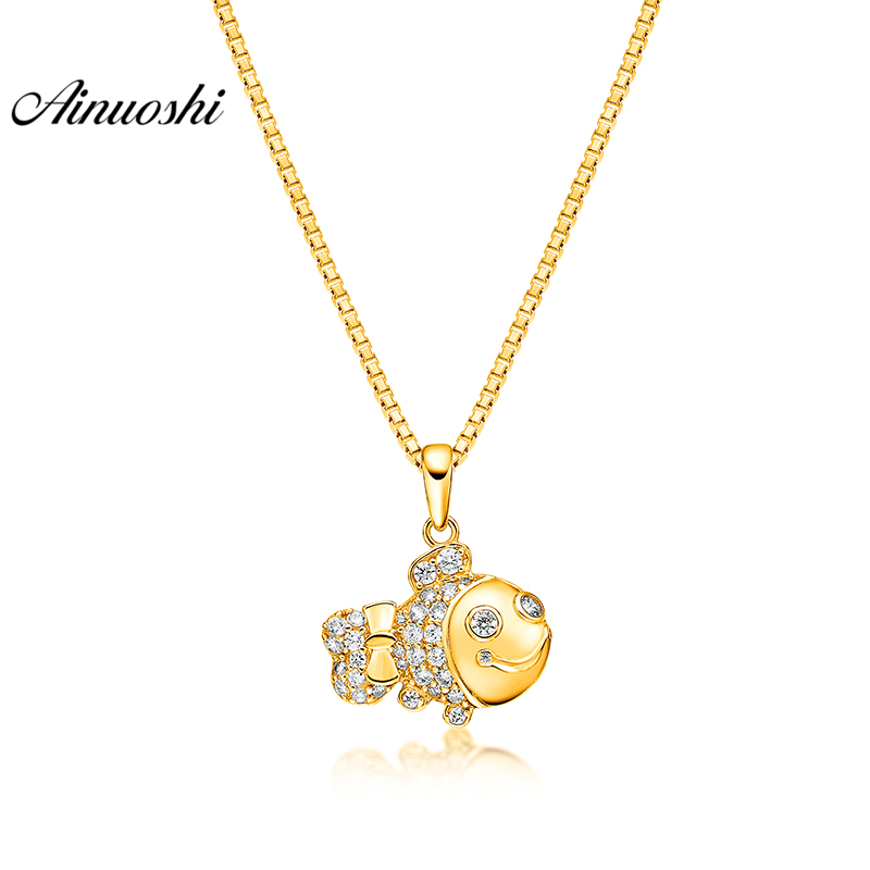 AINUOSHI 10 K pendentif en or jaune massif pendentif poisson mignon SONA diamant femmes hommes enfant bijoux océan Animal 1.3g pendentif séparé