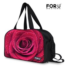 FORUDESIGNS New Women Large Travel Luggage Tote Bag Colorful Flower Printing Duffle Bags for Women Handbag With Independent Shoe