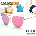 Polarizado marca moda cat eye sunglasses para niñas niños del diseñador los niños gafas de Sol de Espejo Lente gafas de sol de Pantalla Plana fresco