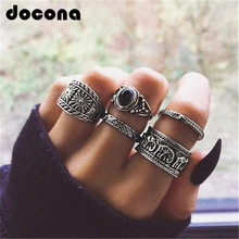 docona Boho Silver Color Elephant Flower Knuckle Midi Ring Set for Women Vintage Black Rhinestone Finger Rings 5pcs/1set 6222