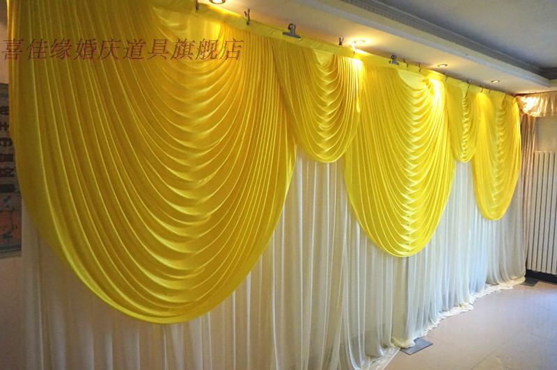 3*6 M glace Slik tissu mariage et fête toile de fond rideau avec Swag détachable rideaux Swag arrière-plan scène événement fête décorations